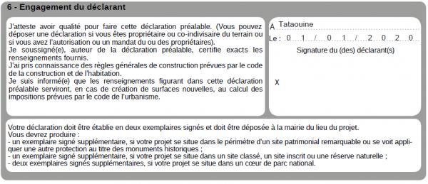 6e cadre pour bien remplir une déclaration préalable de travaux